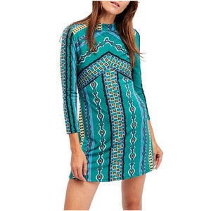 FREE PEOPLE Green Stella Stretch Mini Dress M